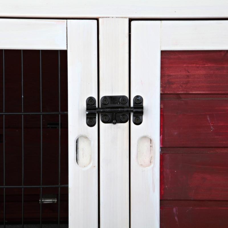 Trixie Kleintierstall mit Freilaufgehege, zweistöckig, Rot/Weiß