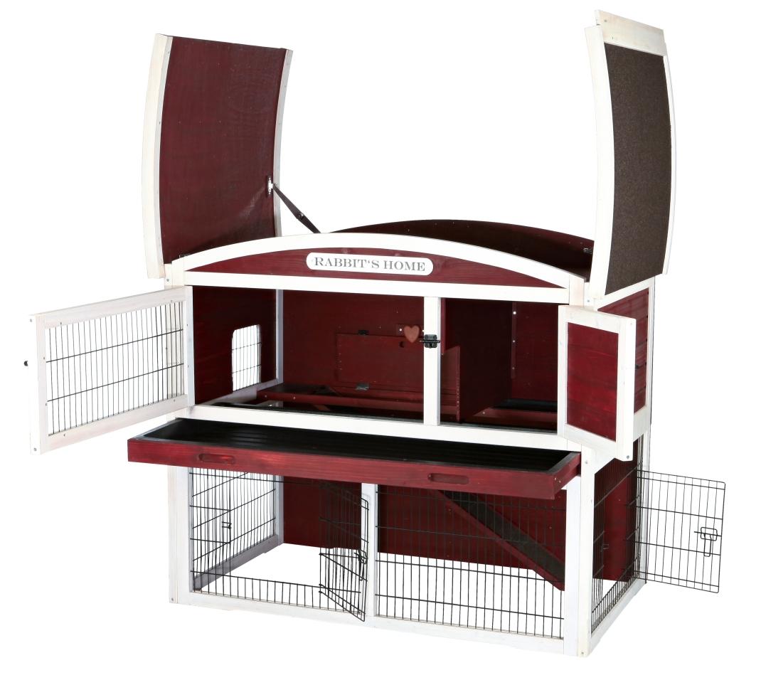 Trixie Kleintierstall mit Freilaufgehege, zweistöckig, Rot/Weiß 124×104×75 cm