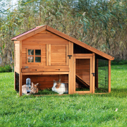 Natura Small Animal Hutch with Enclosure, brown Brown