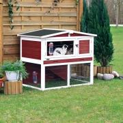 Trixie Kleintierstall mit Freilaufgehege, rot/weiß