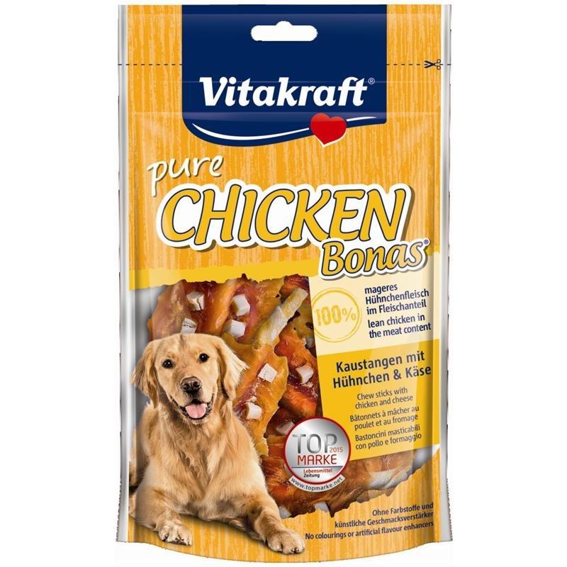 Bâtonnets, rouleaux et lamelles à mâcher Chicken Bones Bâtonnets à mâcher au Poulet et au Fromage 80 g  de chez Vitakraft achats pas cher