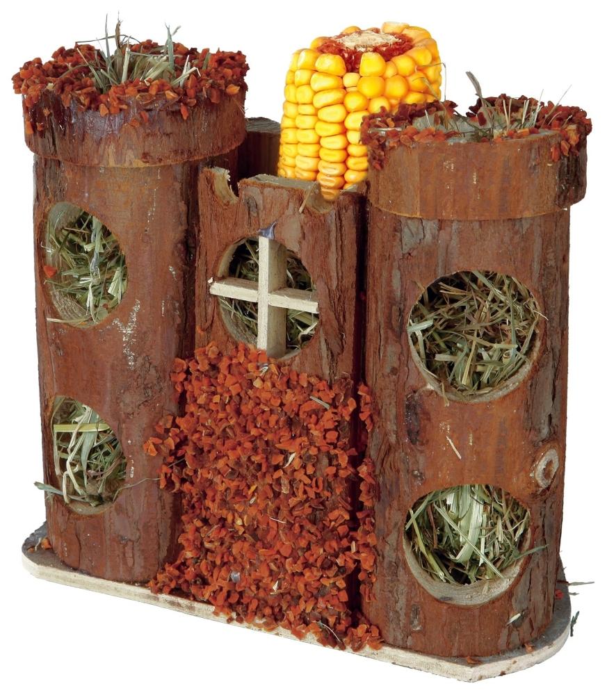 Trixie Pure Nature Burg mit Snacks und Heu 17×15×12  cm