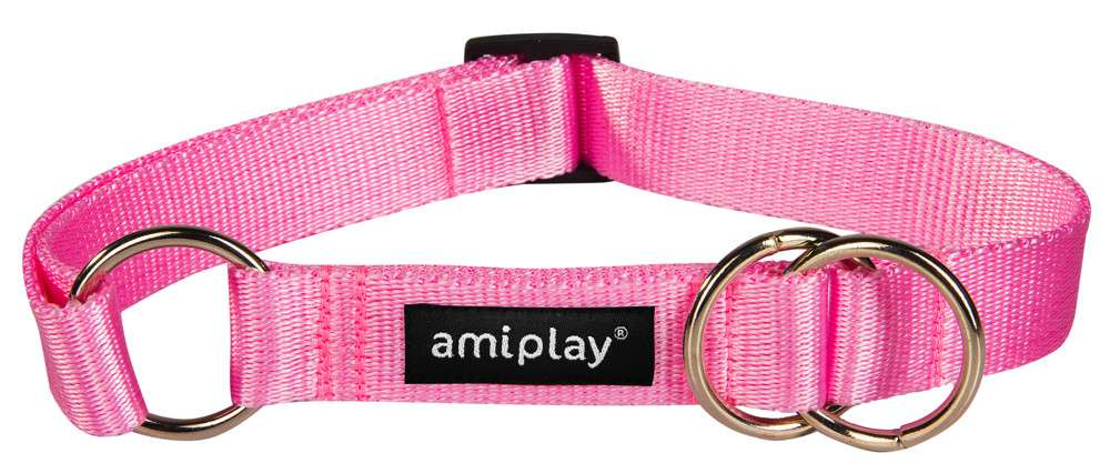 Amiplay Half-check collar Basic  Vaaleanpunainen M