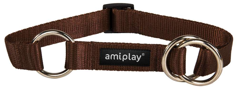 Amiplay Half-check collar Basic  Ruskea M