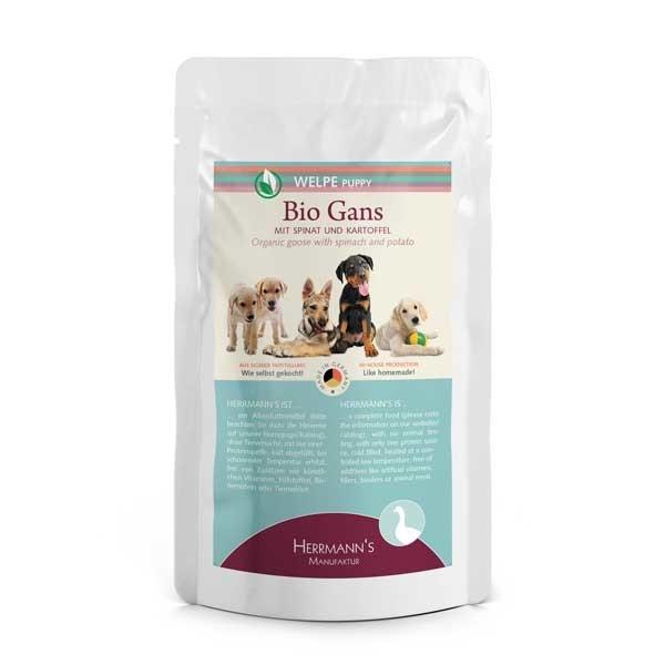 Herrmann's  Puppy Bio - Gans met Spinazie en Aardappelen 150 g