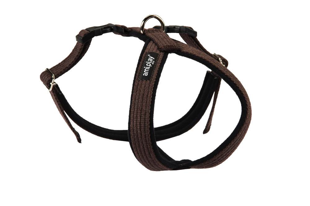 Amiplay Adjustable Cotton Harness Grand Soft, Brown  Brun L