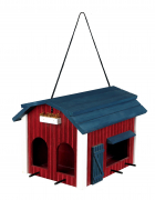 Hanging Bird Feeder Barn, Wood Brun