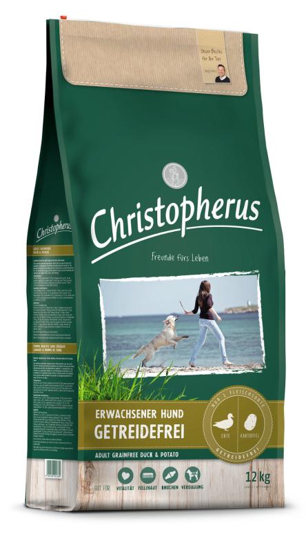 Christopherus Adult Dog Grainfree – Duck & Potatoes 12 kg, 4 kg, 1.5 kg