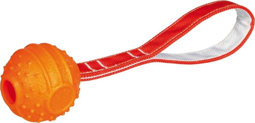 Soft & Strong Ball on Rope, TPR, orange 6x26 cm  from Trixie