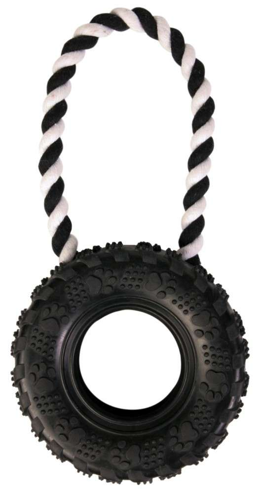 Tossing Rope toys Tire on a Rope Natural Rubber 15/31 cm  by Trixie Buy fair and favorable with a discount