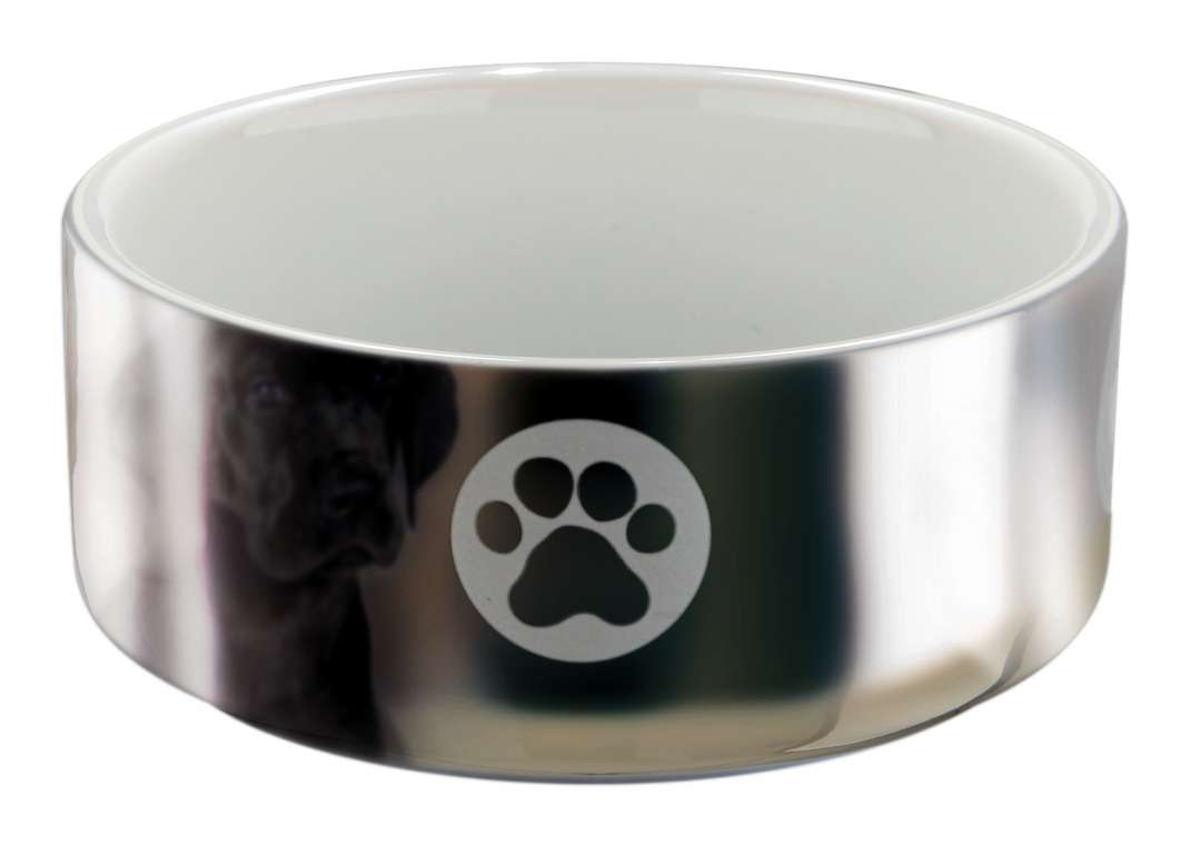 Ceramic Bowl, Silver/White 300 ml  from Trixie