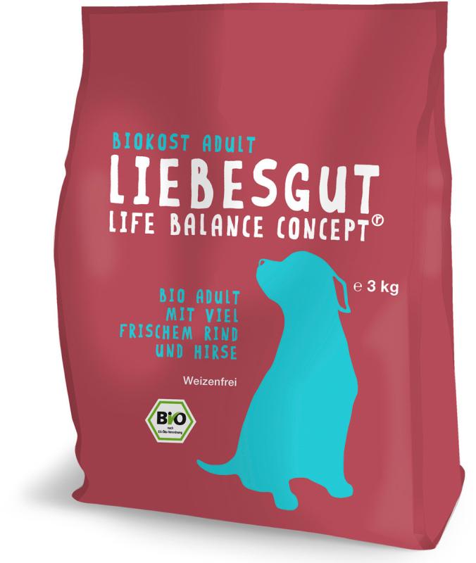 Liebesgut Bio Adult con Manzo Fresco e Miglio 3 kg, 1 kg