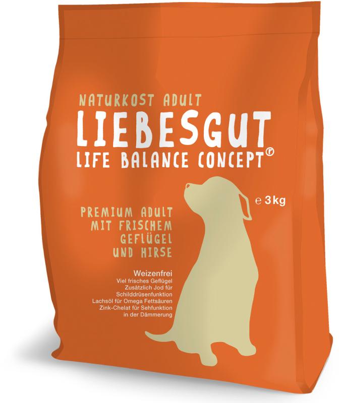 Liebesgut Premium Adult com Carne fresca de Aves de Capoeira e Milhete 3 kg, 1 kg