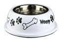 "Stainless Steel Bowl with Plastic Holder, ""Woof!"" 250 ml"