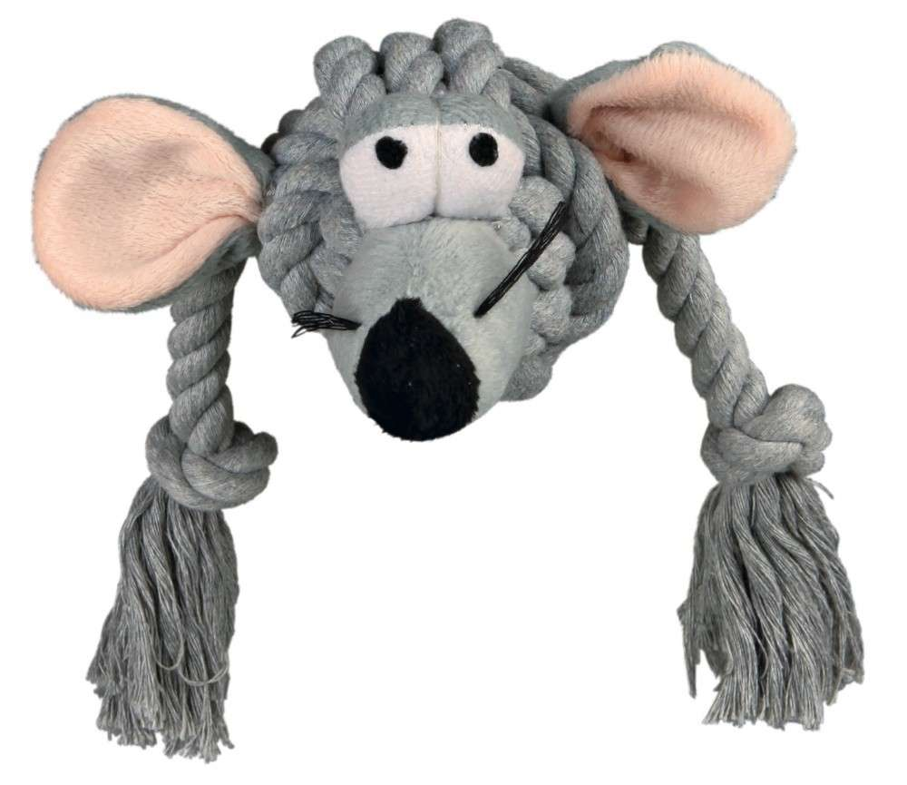 Tossing Rope toys Plush Mouse with Rope 34cm by Trixie Buy fair and favorable with a discount