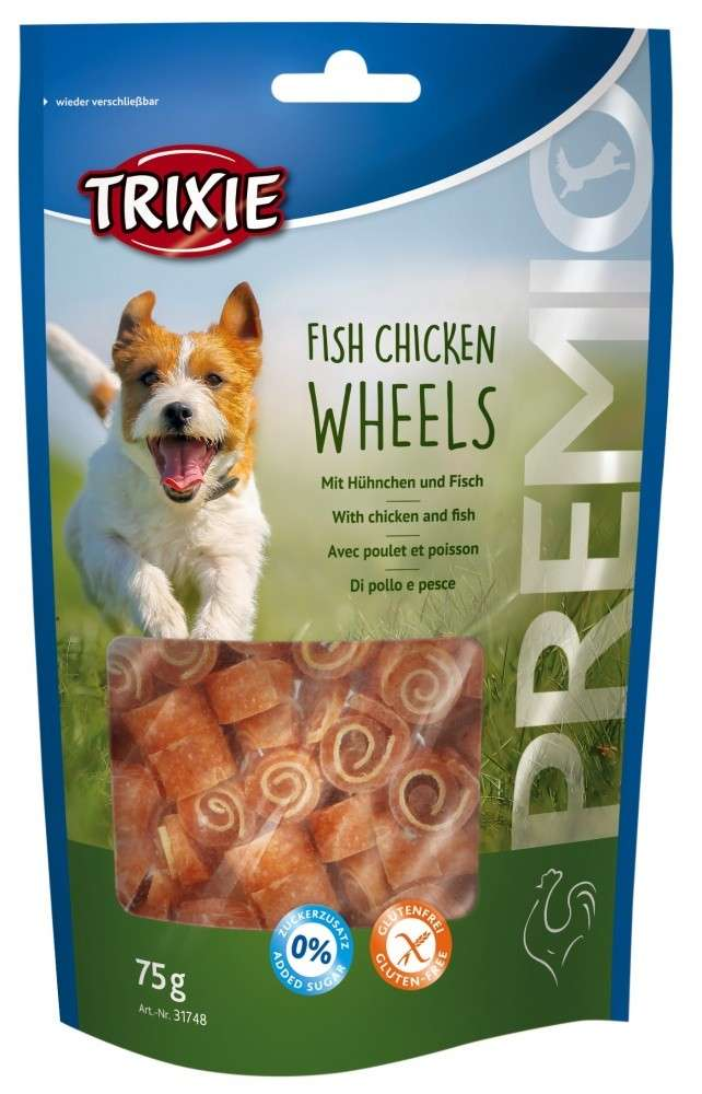 Chewing Sticks, Rolls and Strips Premio Fish Chicken Wheels 75g by Trixie Buy fair and favorable with a discount
