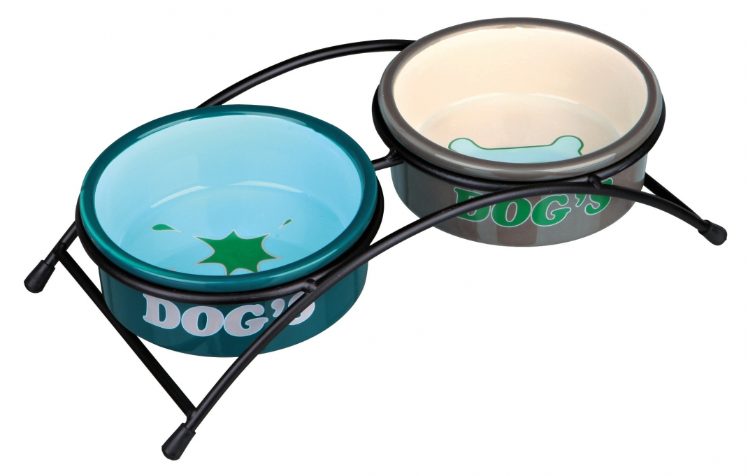 "Trixie Set Comederos de Cerámica Eat on Feet ""Dog's"" 2x300 ml Azul claro"