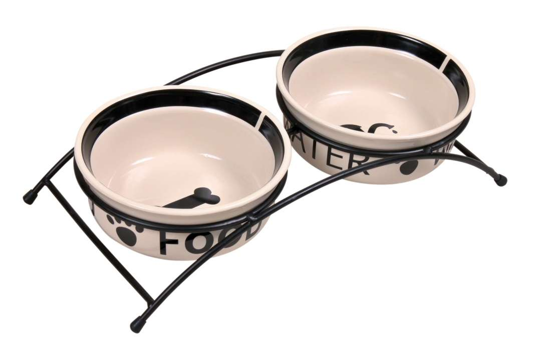 Trixie Set de Comederos Eat on Feet, Cerámica  2x250 ml Blanco