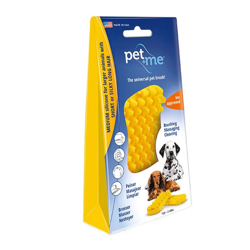 pet+me Cepillo de Silicona  Amarillo