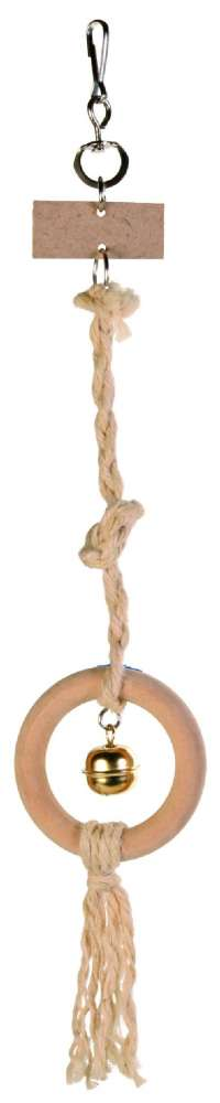 Trixie Wooden Ring Toy on a Sisal Rope with Bell Light brown 41 cm