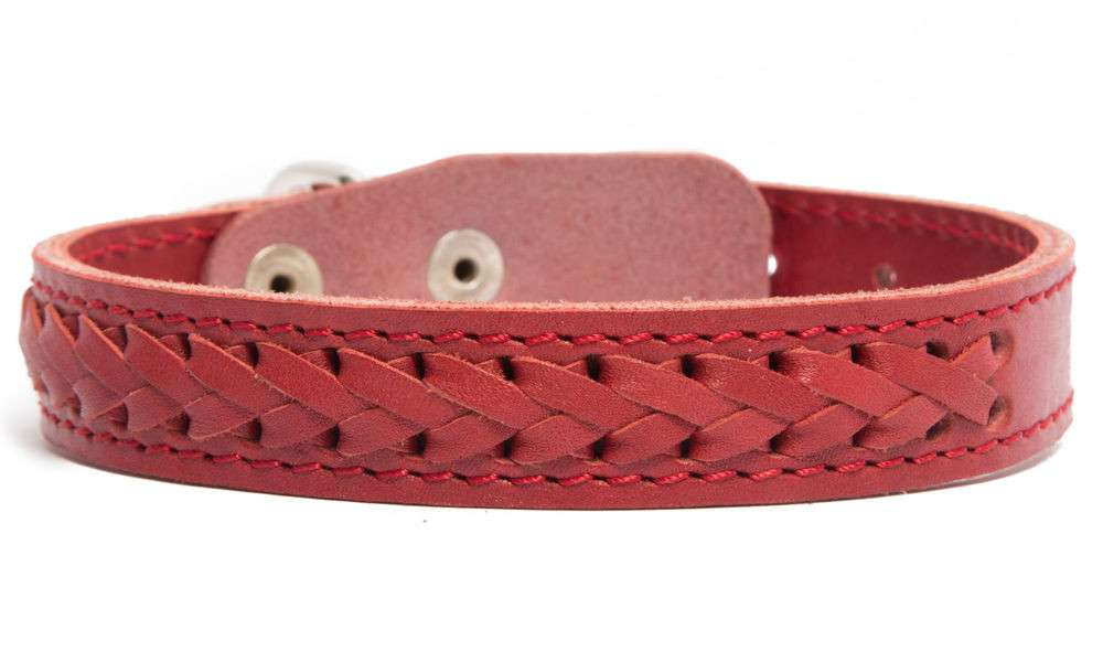 Bark&Bones Elita Collar Trenzado, Simple  Rojo 46-57x3.5 cm
