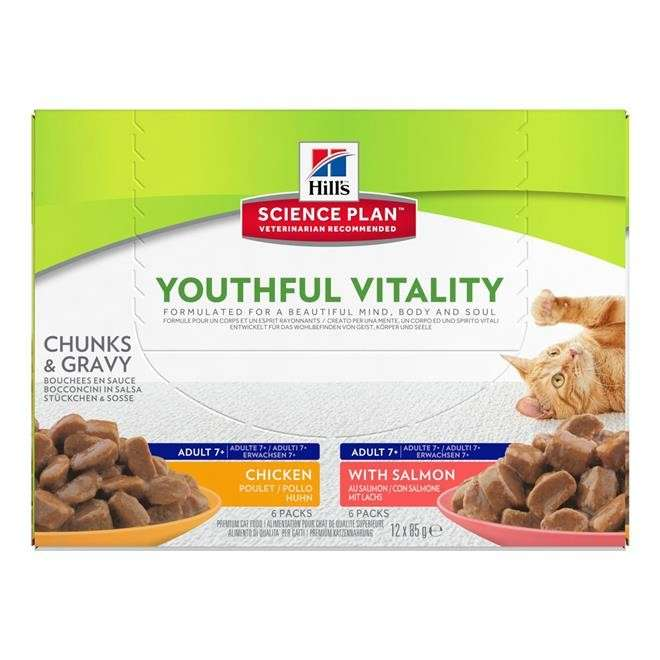 Hill's Science Plan Feline - Adult 7+ Youthful Vitality avec Saumon et Poulet 12x85 g