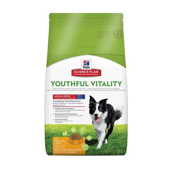 Dry food Science Plan Canine Adult 7+ Youthful Vitality Medium Breed with Chicken & Rice 10Kg, 2.5Kg, 750g by Hill's Buy fair and favorable with a discount