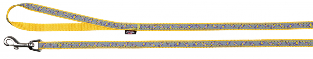Trixie Collar con Correa, reflectante  Amarillo 22-33x1 cm