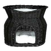 Trixie Wicker Cave with Bed and Cushions on Top Preto