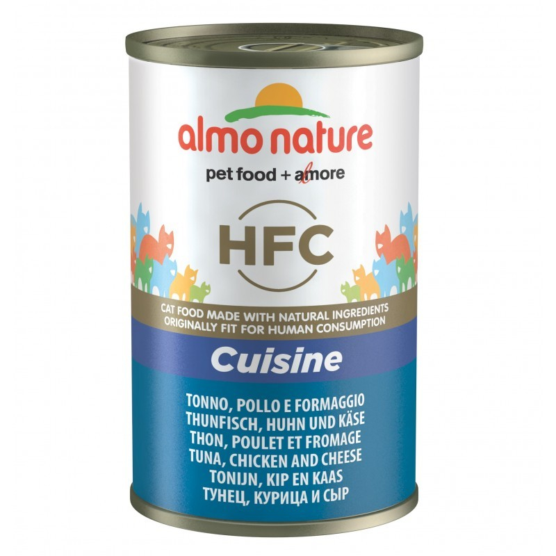 Almo Nature HFC Cuisine Tuna, Chicken and Cheese Canned 140 g 8001154126839 anmeldelser