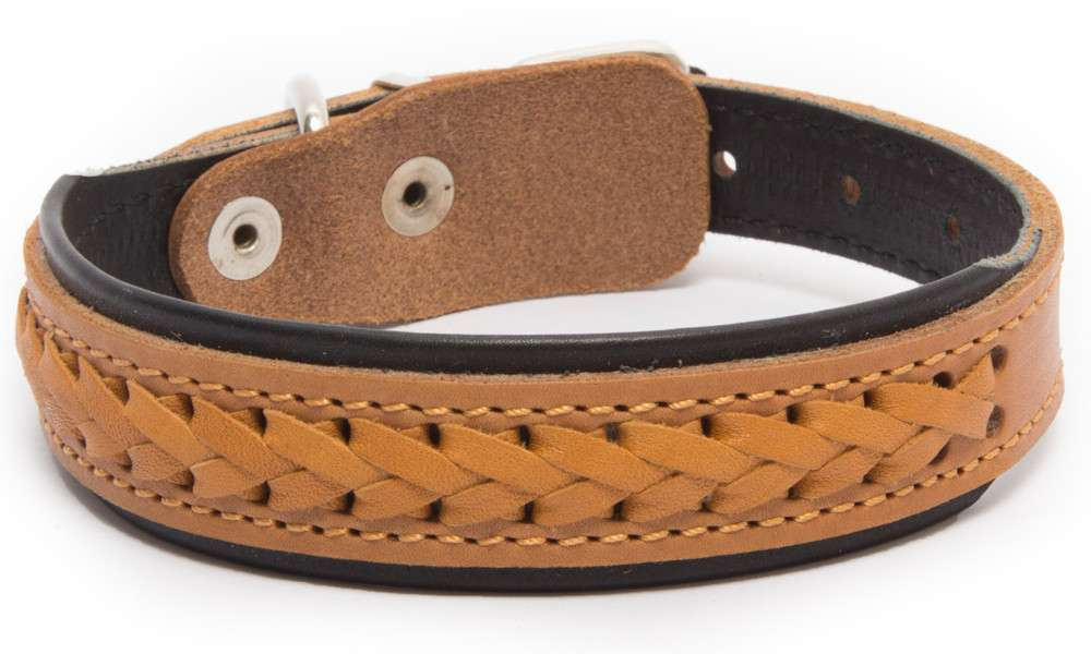 Leather Collars Elita wattled with a wide center XL Light orange, Black, Brown by Bark&Bones Buy fair and favorable with a discount