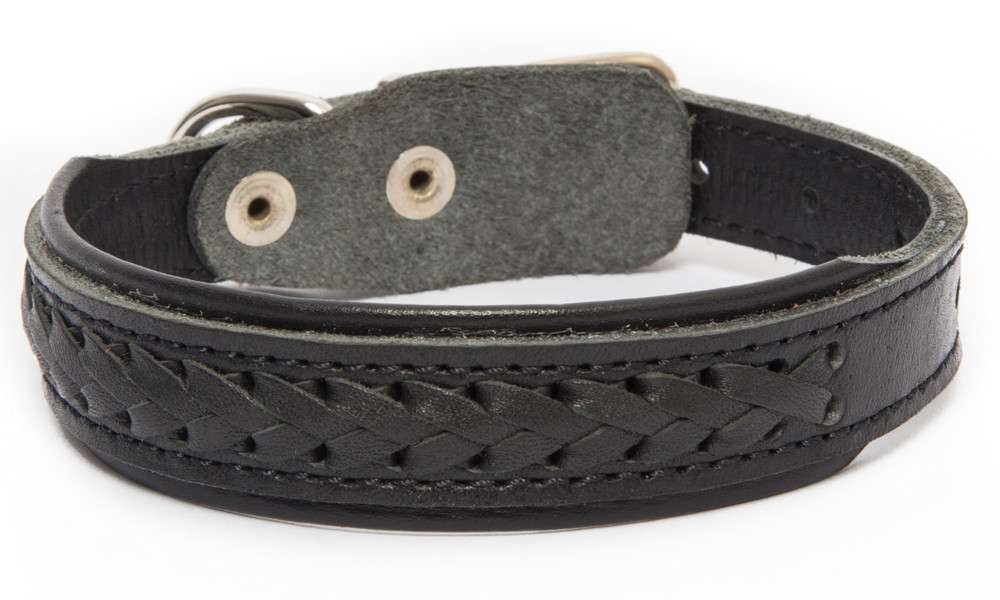 Leather Collars Elita wattled with a wide center Black 46-57х3.5 cm by Bark&Bones Buy fair and favorable with a discount