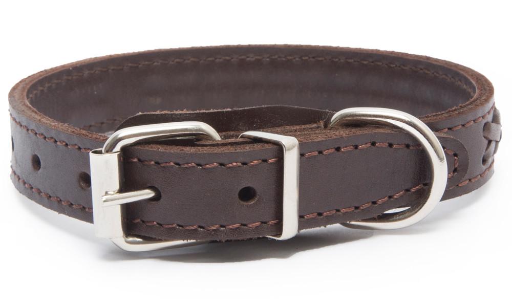 Bark&Bones Elita Collar Trenzado, Simple  Marrón 35-45x2 cm