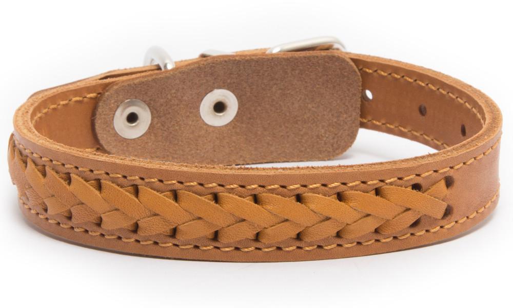 Bark&Bones Elita Collar Trenzado, Simple  Naranja claro 35-45x2 cm