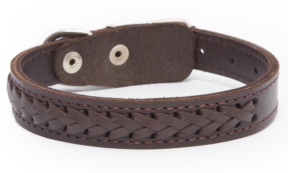 Bark&Bones Elita Collar Trenzado, Simple Marrón 35-45x2.5 cm
