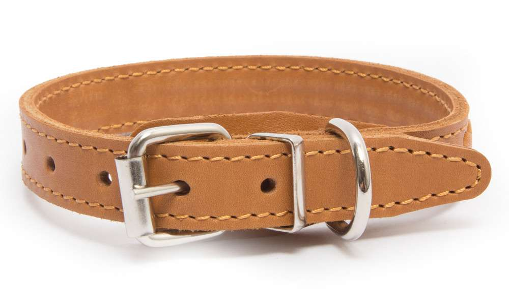 Leather Collars Elita, wattled, simple M Light orange, Red, Black by Bark&Bones Buy fair and favorable with a discount