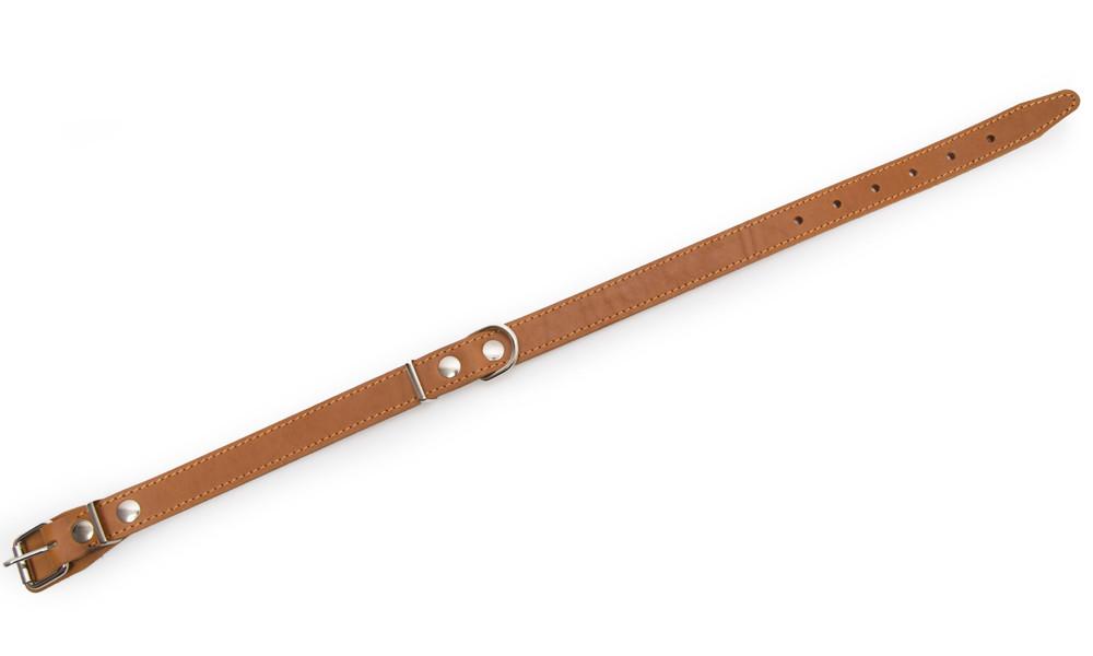Bark&Bones Coleira de Couro com Fivela no Meio e Bordas Costuradas  Marrom Claro 52-67x2.5 cm