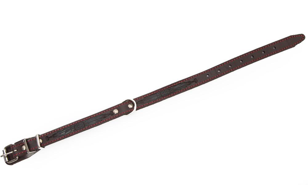 Bark&Bones Coleira com Parte Traseira de Tecido e Fivela no Meio, M/L  Marrom escuro 41-55x2.5 cm