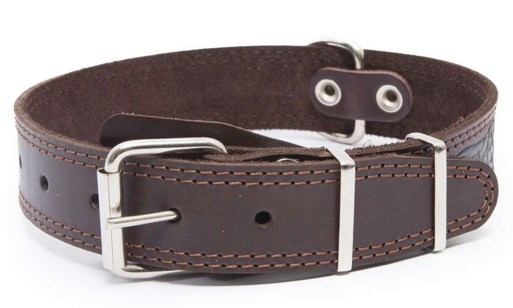 Bark&Bones Collar with Clasp, Pattern and Textile Back  Marrone scuro 43-58x3.5 cm