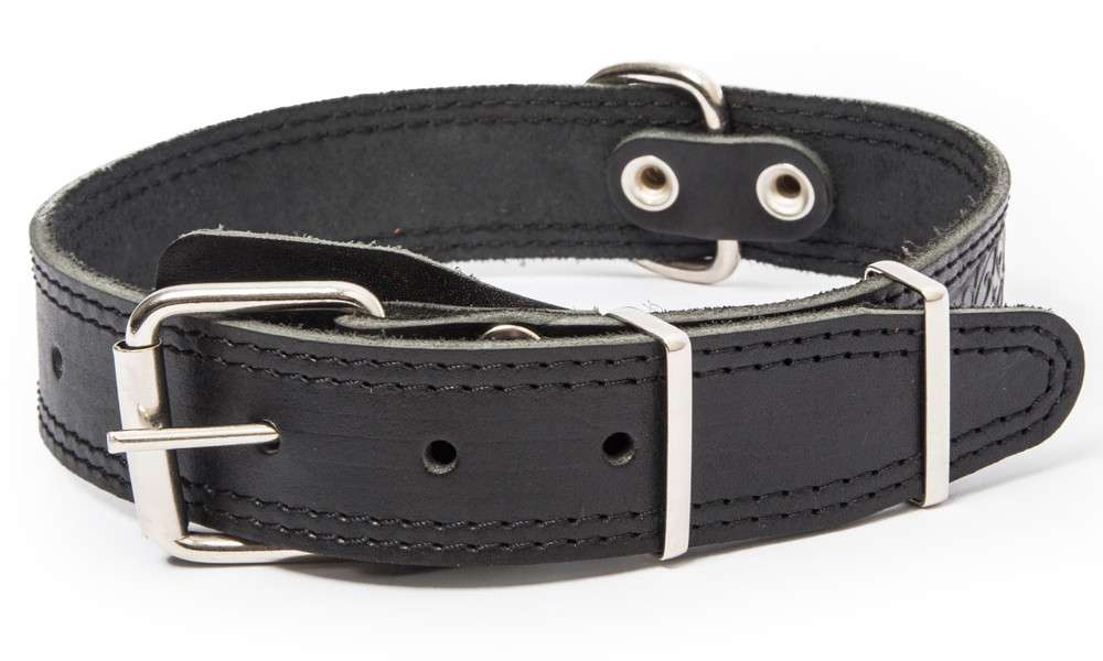 Bark&Bones Collar with Clasp, Pattern and Textile Back, XL Black 54-66x3.5 cm
