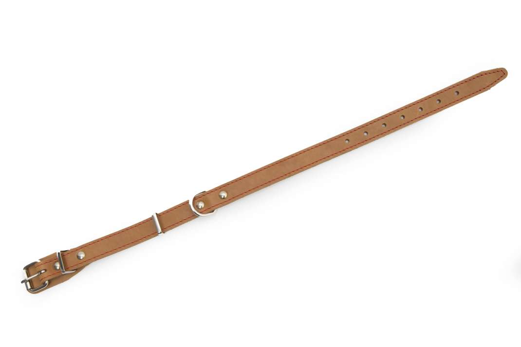 Bark&Bones Collar de Cuero Cosido en Varios Colores Naranja claro 33-45x2 cm