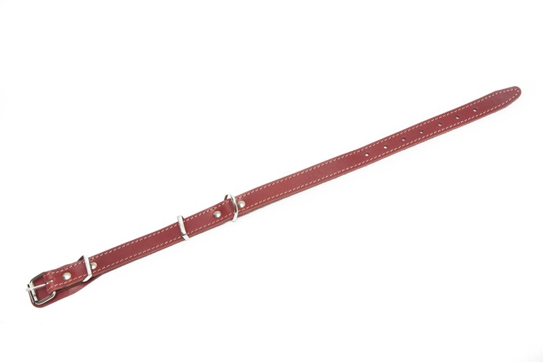 Bark&Bones Collar de Cuero Cosido en Varios Colores  Burdeos 33-45x2 cm