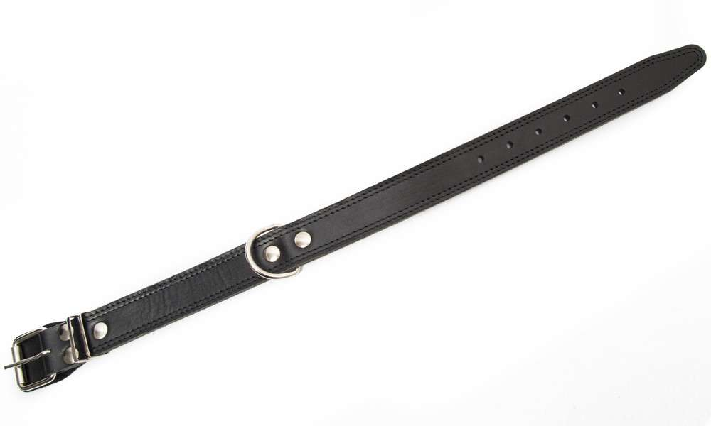 Bark&Bones Coleira de Couro com Fivela no Meio e Duplas Bordas Costuradas, XL  Preto 61-76x3.5 cm