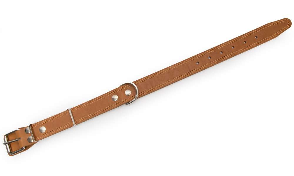 Bark&Bones Coleira de Couro com Fivela no Meio e Duplas Bordas Costuradas, XL  Marrom Claro 61-76x3.5 cm