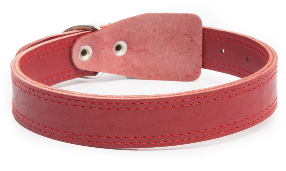 Bark&Bones Leather collar clasp-free,  M/L Red L
