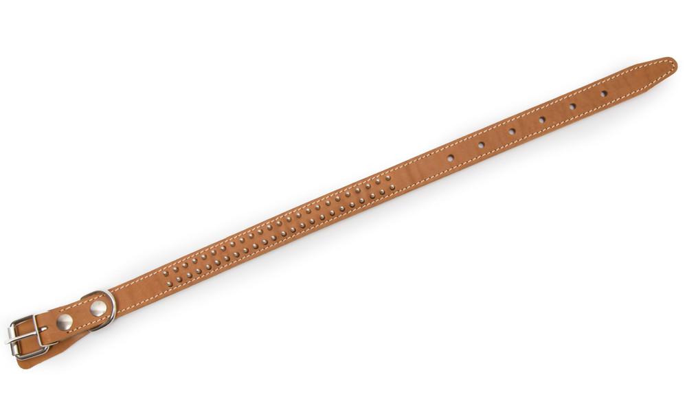 Bark&Bones Collar de Cuero con Pinchos en Dos Filas Naranja claro 40-54x2.5 cm
