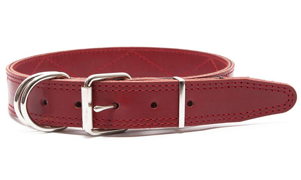 Leather Collars Leather collar with rhombic quilted pattern, L Red  by Bark&Bones Buy fair and favorable with a discount