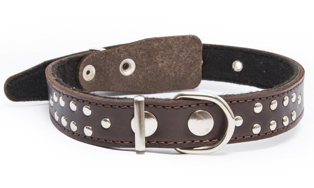 Bark&Bones Collar con Parte Trasera de Tejido con Remaches  Marron oscuro 40-54x2.5 cm