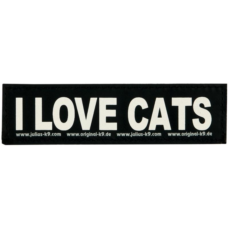 """Julius K9 Etiqueta de Velcro """"I Love Cats"""" S  I LOVE CATS"""