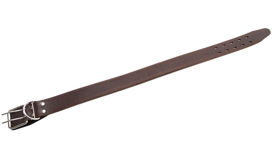 Bark&Bones Collar de Cuero con Agujeros ovalados, XXL  Marron oscuro 65-78x3.5 cm